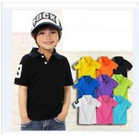 Wholesale 2 Y Boys Clothing Summer Kids T shirt Classic Children Brand T shirts Cotton Tees Solid Color Boys Girls Tops Tees Polos Shirt