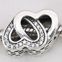 Wholesale 2016 Mother s Day Sterling Silver Entwined Love Charm Bead with CZ Fits European Pandora Style Jewelry Bracelets Necklace