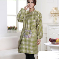 Wholesale 90 CM Korean Version Of The One Piece Long Sleeve dot Aprons Anti Dressing Gown Hood Kitchen Adult Cartoon Aprons