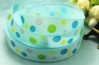 Wholesale New arrival yards quot mm blue pink polka dots printed Grosgrain Ribbon
