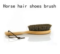 Wholesale Long Wood Handle Horse Hair Bristles Shoe Polish Buffing Brush Boot Care Clean Wax Horse Mane Shoes Cleaner
