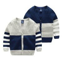 Wholesale ZY30 kids boys fall spring winter V neck cardigan long sleeve stripped sweaters child boys contrast color cotton thickened sweater free ship