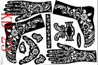airbrushing stencils - sheet KD23 Tattoo Templates hands feet henna tattoo stencils airbrushing professional mehndi new Body Painting Kit supplies