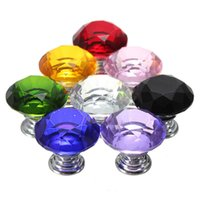 Wholesale Durable mm Diamond Shape Crystal Glass Cabinet Knob Cupboard Drawer Pull Handle Home Furniture Hardware Kitchen