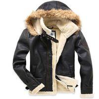 air free jackets - Fall New Men s brand Amercia pilot fur thickening lamb flocking air force leather jacket Winter coat M XXL