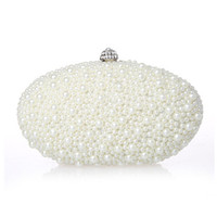 Wholesale New Arrival Ivory Red Black Pearls Bridal Handbags For Women Cheap High Quality Hobos Diamonds Wedding Party Clutch Bags EN603
