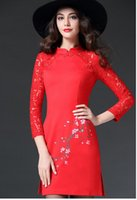 Wholesale Black red Chinese Women s Satin Cheongsam Qipao Mini Evening Dress Nine points sleeve cheongsam get red bud splicing printing