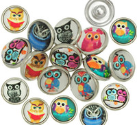 beautiful metal bracelet - 50pcs Mix Colors Fashion Glass Dome Noosa Chunks Beautiful Owls Metal Ginger MM Snap Buttons For Diy Jewelry Findings