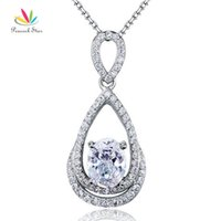 Wholesale Solid Sterling Silver Bridesmaid Pendant Necklace Carat Oval Cut Created Diamond Jewelry CFN8017