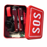 aluminum saws - In SOS Emergency Box Outdoor Survival Kits Flashlight Pliers Multi tool Card Wire Saw Whistle Fire Starter Compass