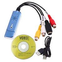 Wholesale Free Ship New Portable USB Easycap Video Audio Capture Card Adapter VHS DC60 DVD Converter Composite RCA Blue
