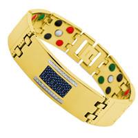 Wholesale Wollet Jewelry cm mm CZ stone men gold plating blue carbon fiber titanium germanium bracelet