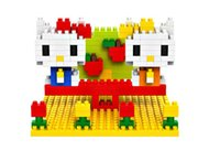 Wholesale Small particles diamond blocks the nano hello Kitty kimono scene plastic to hold toys