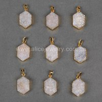bead jewlery - Gold Plated Hexagon Shape Natural Agate Titanium AB Druzy Pendant Connector Charm Bead for Jewlery Acc G0743