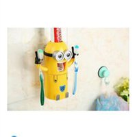 Wholesale Cartoon yellow people wash gargle suit Toothbrush toothpaste students travel toothbrush cup