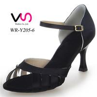 Noir Color Style Simple Strapy Sandal WR-Y205-6 femmes Suede Pig Salsa Skin Danse Shoe Tango Dance With 8cm Hauteur du talon chaussure confortable