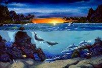 bay tech - Original US High tech HD Print Oil Painting Art On Canvas Michael R Nelson Paradise Bay x36inch Unframed
