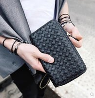 Wholesale 2016 new men s Wallet Purse Wallet Zipper in the male and female woven long wallet wallet hand bag
