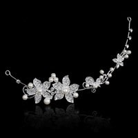 Wholesale Pearl Hairband Crystal Flower Headband Wedding Bridal Party Elegant Women Girls Love Flower Tiara Hair Jewelry Accessories
