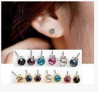 Wholesale Men Woman Fashion mm sterling silver pure crystal sturd earrings For Promotion TE037