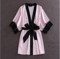 america lingerie - 2016 Europe And America Fashion Pink Striped Robes High Quality Women s Night Gown Sexy Black Lace Lingerie Sleepwear One Size
