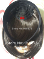 Wholesale retail headaband bangs for women natural black color sideburns full bangs franja synthetic fringe hair high quality good gift