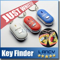 Wholesale Whistle Activated Key Finder with LED Light and Switch Anti Lost Alarm for Key Black White Blue Red Retail Packing