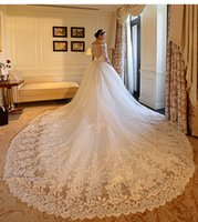 Wholesale 2016 Sexy Illusion Backless Long sleeve Luxury V Neck Wedding Dresses Lace Applique Bridal Gowns Sheer Wedding Dress