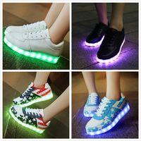 Cheap 7 Colors Luminous LED Shoes Men Women Sneakers USB Charging Shoes LED Light Up Shoe Glowing Flat Shoe Low-Top High Quality Free Shipping