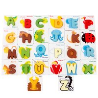 animal alphabet cards - Wooden ABC Alphabet Cards D Puzzles Shape Matching Toy Baby Preschool Letters and Animal Patterns Combined Jigsaw Puzzle