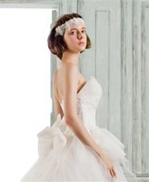 bella crystals - Fashion Strapless Tiered Skirts Wedding Dresses Autumn Lace Up Tulle Simple Modern Wace Details Ball Gown Wedding Dress BELLA BRIDE