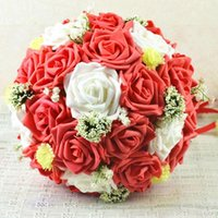 artificial agents - Artificial flower red and white roses bride holding bouquet wedding gift wedding gifts agents D71