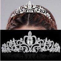 Wholesale Bridal Wedding Crystal Rhinestone Crown Heart Crown Pageant Silver Plated Women Tiaras Hair Comb Headband