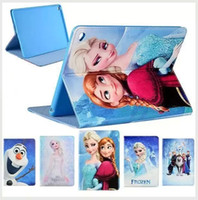 Wholesale For iPad air2 Air mini Frozen Elsa Anna Princess Flip Cartoon Leather Case Smart Cover Stand for ipad pro