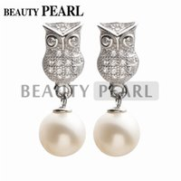 Wholesale 7 mm Round White Pink Peacock Green Freshwater Pearls Owl Sterling Silver CZ Earrings Wedding Party Jewelry Gift