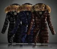 Wholesale 2017 New Women Winter Long Jacket Coats Thick Parkas Plus Size Real Raccoon Fur Collar Hooded Outwear