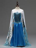 Wholesale Frozen Elsa Blue Princess Dress Kids Costumes Dress for Girls Frozen Cloak Gauze Dress Long Sleeve Party Dress Christmas Gift