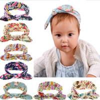 Hair Ribbons Cotton Solid European 8 Colors Flora Amoeba Print Bow Knot Baby Girls Hairband Rabbit Ear Bowknot Headband Cotton Head Band for Kids Girls KB520