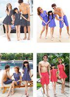 Wholesale Family Swimwear Parents daughter Swimwear stripe bathing suit one piece family swimwear