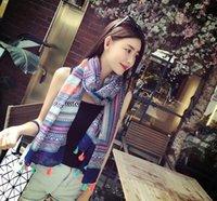 Wholesale Retro ethic gemetric printing women fashion tassels scarf shawls sarong red blue two colors