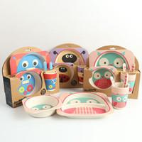 Wholesale Natural bamboo fibers Cartoon Baby Feeding Kids Boy Girl Children Safe children s Cups Dishes Utensils Suit