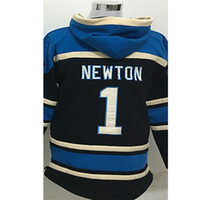 Wholesale Cam Newton Black Sawyer Hooded Greg Olsen Luke Kuechly Sweatshirt Hoodie Stitched Football Jerseys Best Quality
