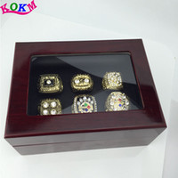 amazing boxes - 6 set Amazing quality men super bowl Football Steelers Replica Championship Ring set with wooden box