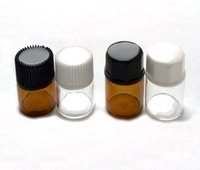 Wholesale 5 Dram ml Amber or Transparent Glass Essential Oil Bottle with Inside plug and Black White Caps By DHL