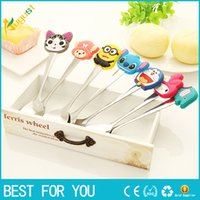 Wholesale New fashion Cute Cartoon silicone handles stainless steel spoon ice cream dessert spoon stirring coffee spoon creative tableware