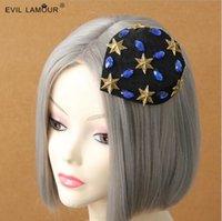 Trendy Fashion Summer Girls Mini chapeau de luxe Fansinator Elegant Gold Star Rock Hairclips chapeau de partie de la femme Accessoires