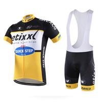 achat en gros de quickstep vélo-2016 Team Pro Vêtements de vélo Vêtements Ropa Ciclismo Vêtements de sport Mans Racing Mountain Bike Cycling Jersey Bib Shorts Set QuickStep Yellow