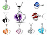 Wholesale 2016 Romantic Multicolor Crystal Love Heart Pendants Cheap Necklaces For Women Jewelry China