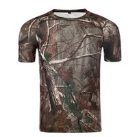 Wholesale New D Leaf Camouflage Outdoor Shirt Hunting Camping Training Airsoft Ployester Tactical T shirt Army Military Camo Short Sleeve