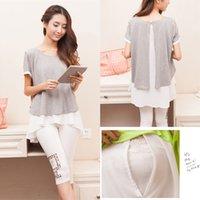 Wholesale Cotton Chiffon Maternity Nursing Tops Breast Feeding Clothes for Pregnant Women New Summer Fashion Pregnancy Shirts